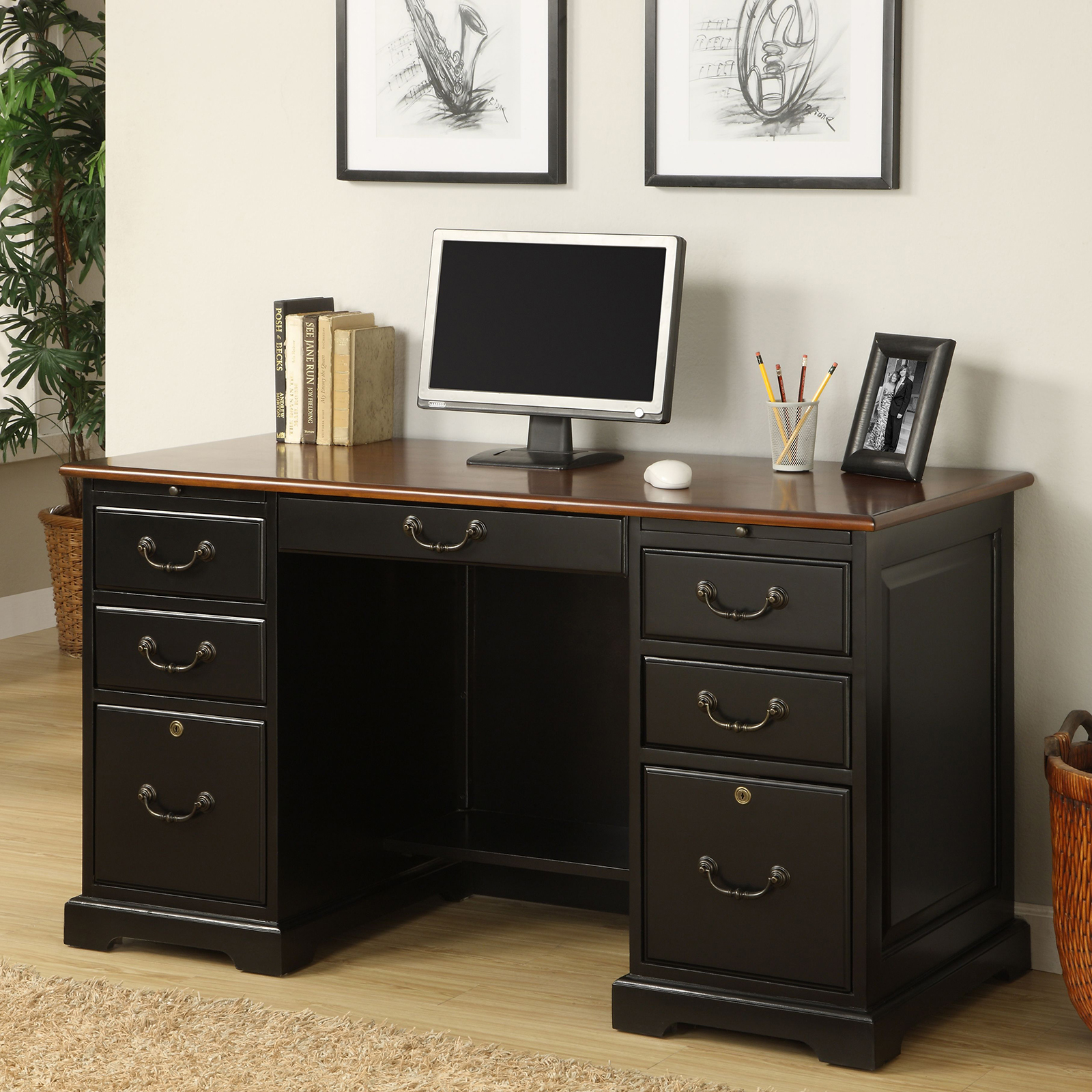 wood and drawer nj hutch curved off with drawers three second back desk hand computer cork