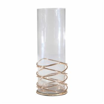 Sagebrook Home Loop Metal/Glass Hurricane Candle Holder