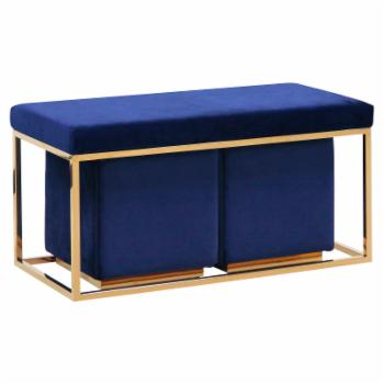 Sagebrook Home Velveteen Bench with Stools