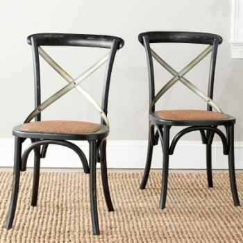 Safavieh Logan X-Back Dining Side Chairs - Black - Set of 2
