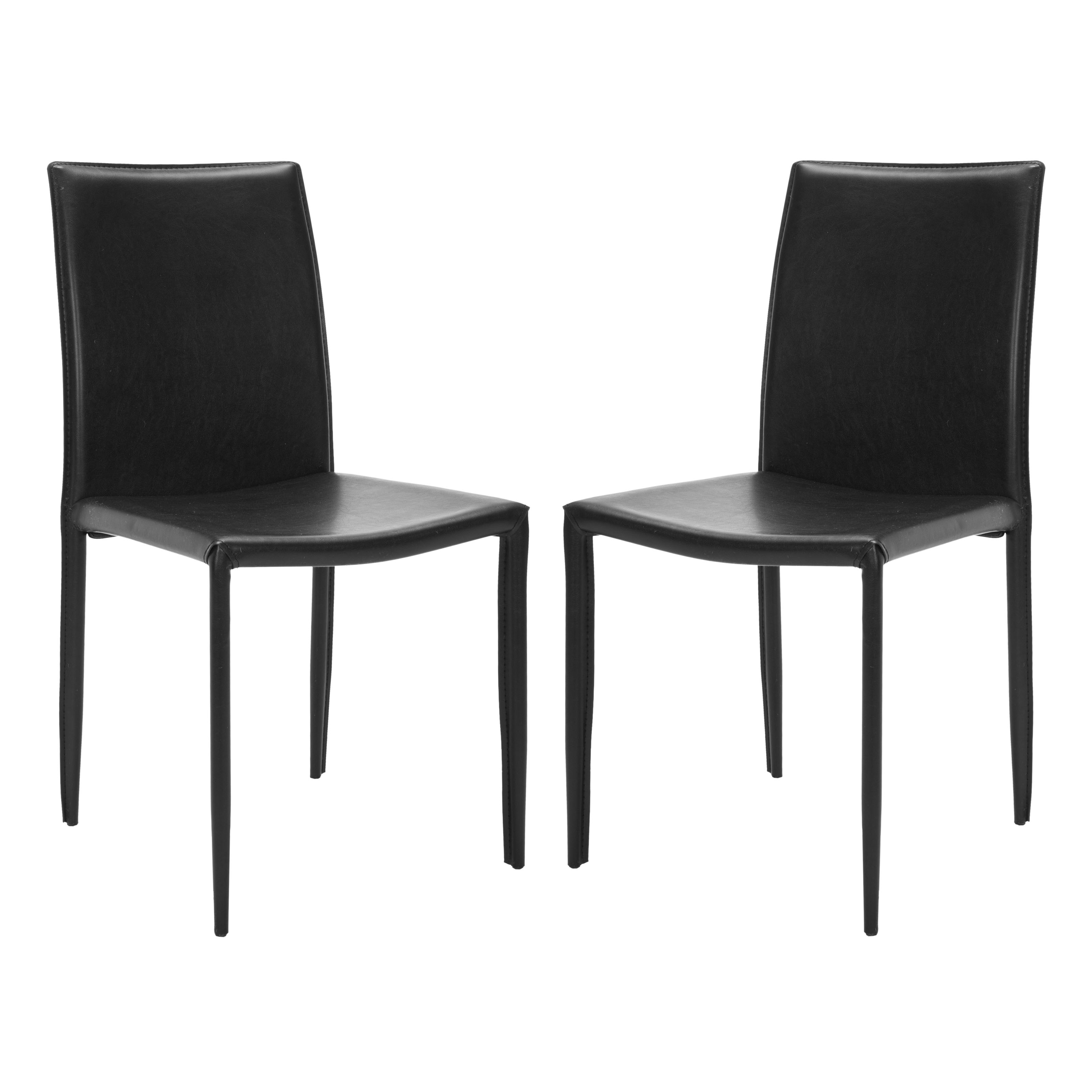 Safavieh Ken Dining Side Chairs Black Leather Set of 2