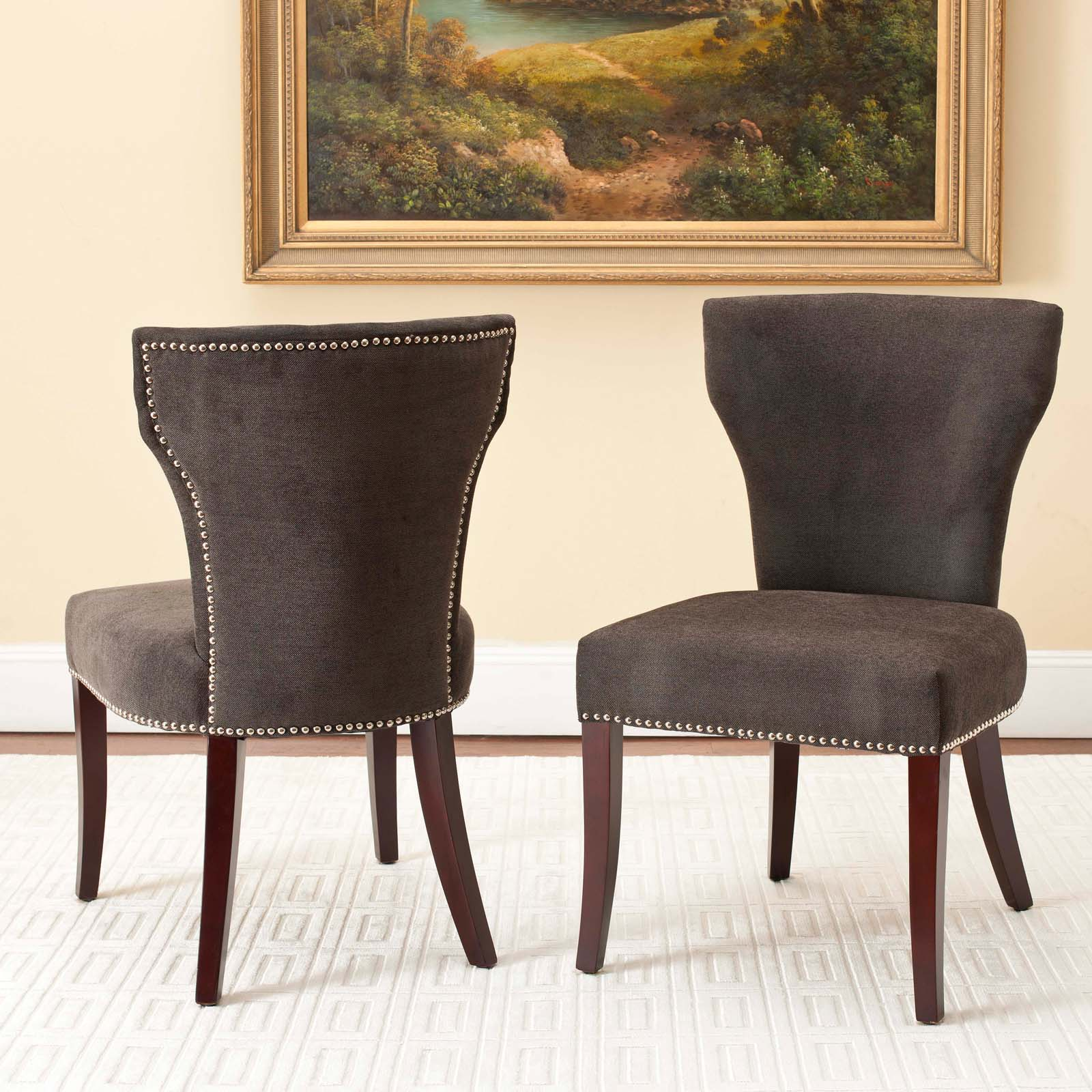 Safavieh Mason Dark Gray Upholstered Nailhead Dining Side Chairs