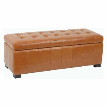 Safavieh Large Manhattan Storage Bench - Saddle Brown Leather