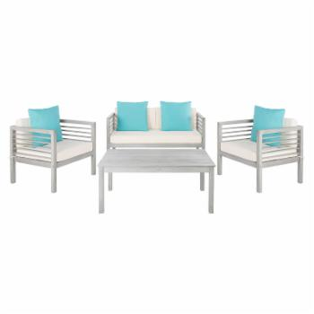Safavieh Alda Eucalyptus Wood 4-Piece Conversation Set with Accent Pillows
