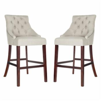 Safavieh Eleni Tufted Wing Back 30 in. Bar Stool - Set of 2