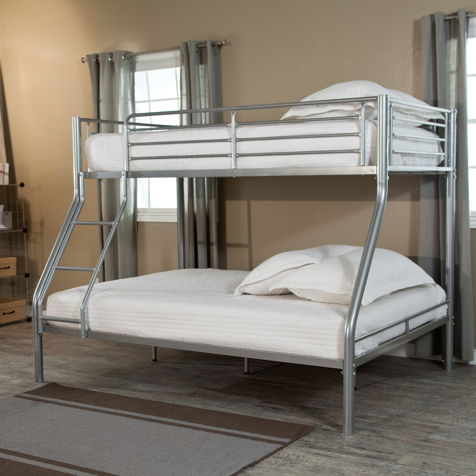 Bunk beds for adults full - Duro Wesley Twin Over Full Bunk Bed Silver Bunk Beds Loft Beds At Hayneedle
