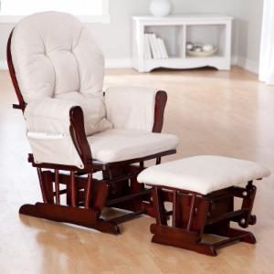 Storkcraft Bowback Glider And Ottoman Set Cherry Beige