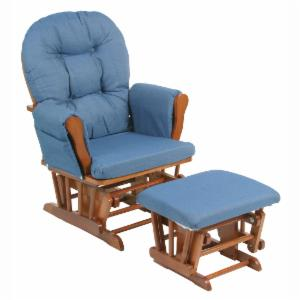 Storkcraft Bowback Glider And Ottoman Set Cognac Denim