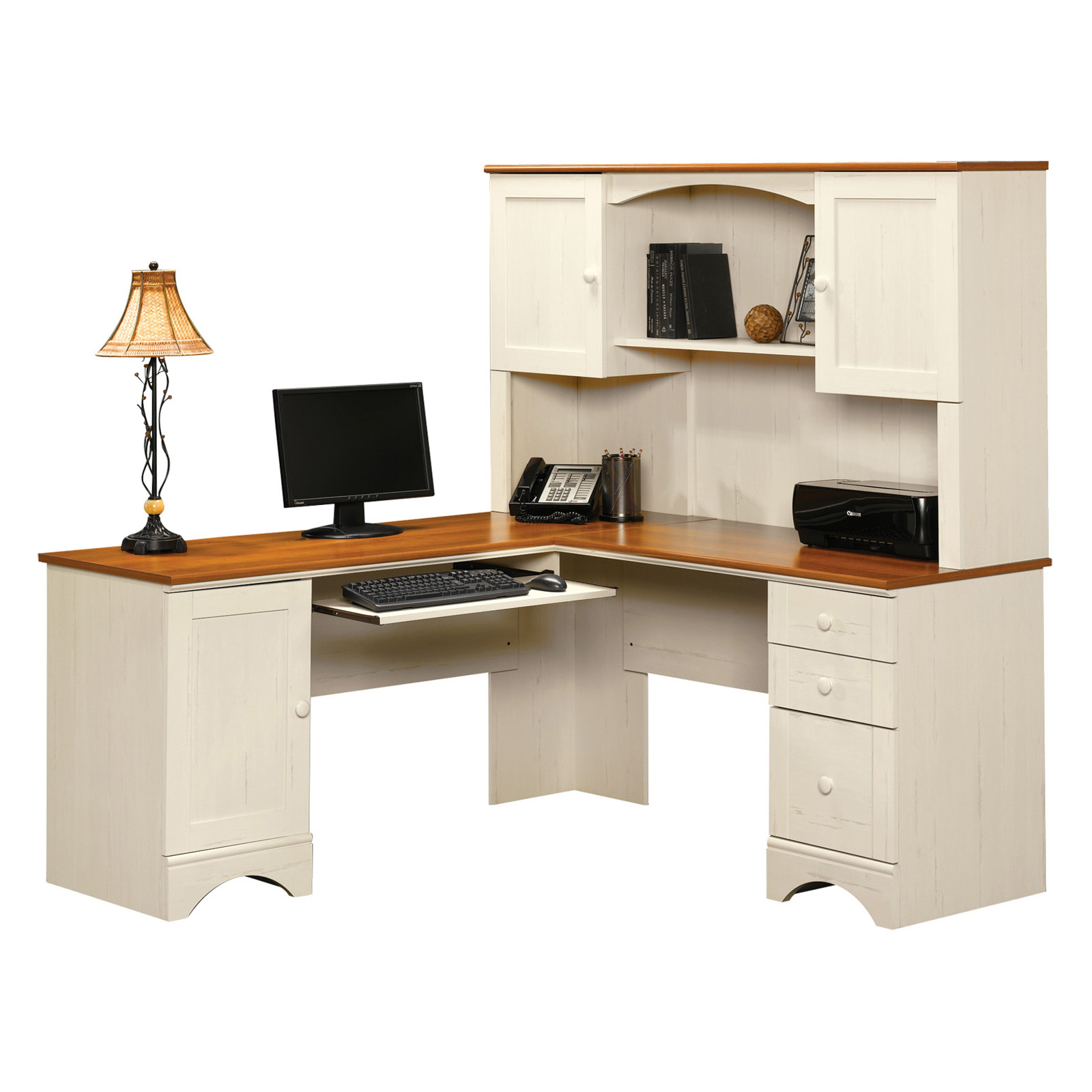 Sauder Harbor View Corner Computer Desk With Hutch Antiqued White Hayneedle