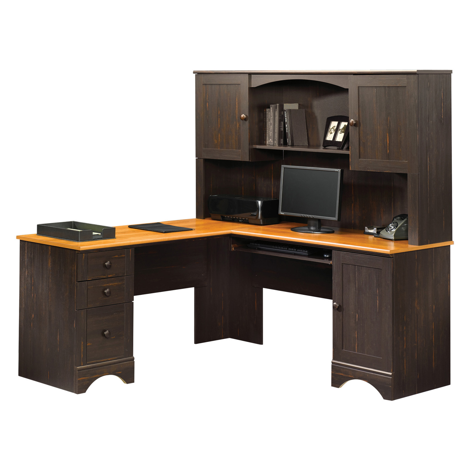 Sauder Harbor View Corner Computer Desk With Hutch Antiqued Paint Hayneedle