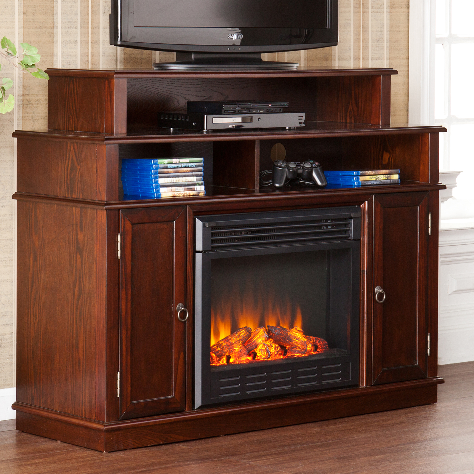 Southern Enterprises Lynden Espresso Electric Fireplace Media Console |  Hayneedle