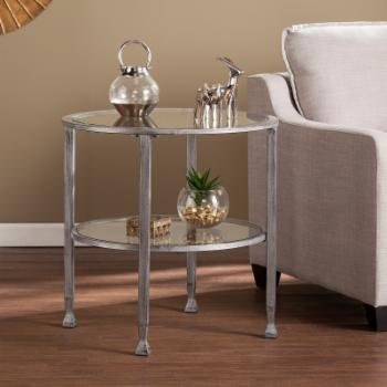 Southern Enterprises Jaymes Metal / Glass Round End Table