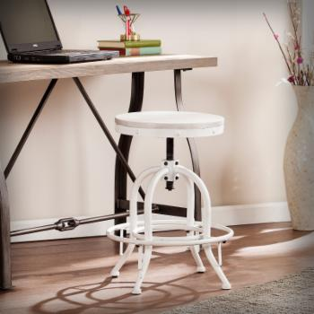 Southern Enterprises Industrial Adjustable Height Swiveling Counter Stool - White