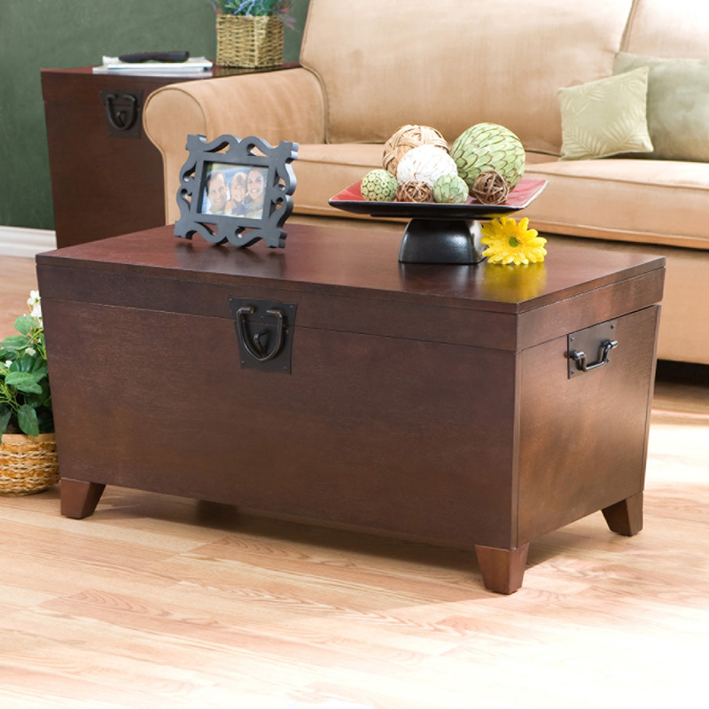 Southern Enterprises Pyramid Trunk Coffee Table   Espresso