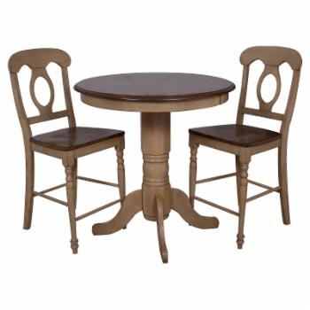 Sunset Trading 3-Piece Brook 36 in. Round Pub Dining Table Set with Napoleon Stools