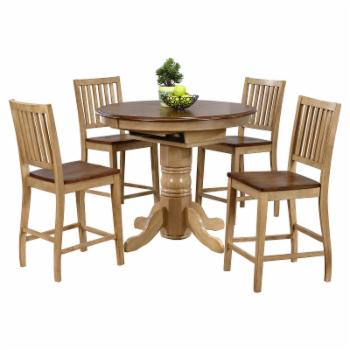 Sunset Trading 5-Piece Brook Butterfly Leaf Pub Dining Table Set with Slat Back Stools