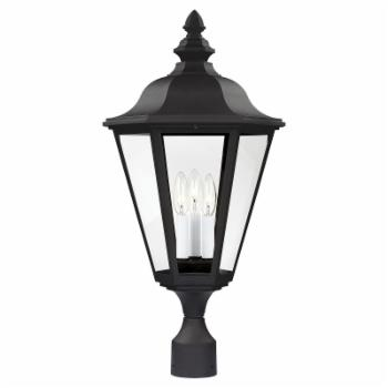 Sea Gull Brentwood Outdoor Post Lantern - 25.75H in. Black