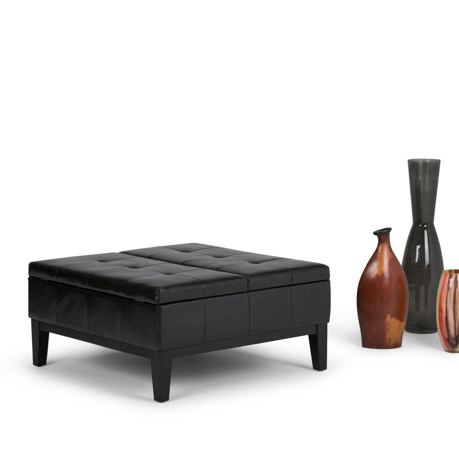 Simpli Home Dover Faux Leather Coffee Table Storage Ottoman