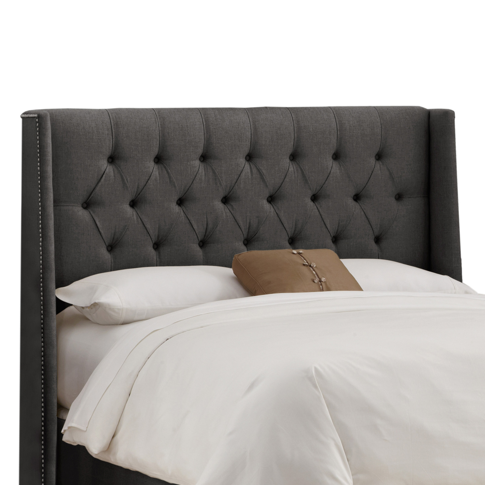 diamond tufted nail button wingback linen upholstered headboard hayneedle - Black Tufted Bed