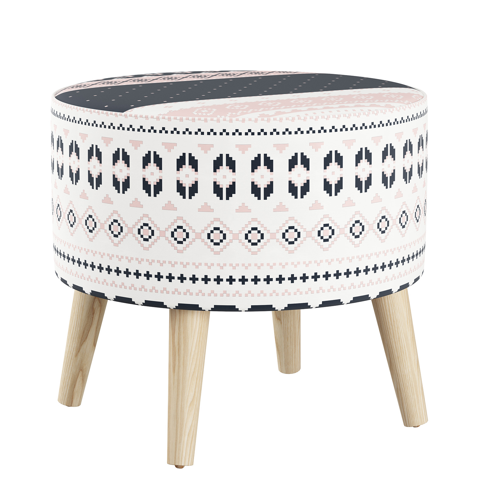 Skyline Furniture Nordic Sweater Navy Blush Round Ottoman With Splayed Legs