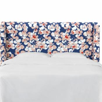 Skyline Furniture Block Floral Curved Wingback Upholstered Headboard