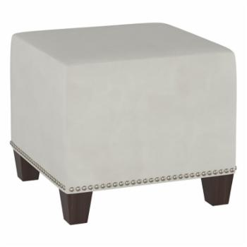 Square Upholstered Ottoman with Nailhead Trim