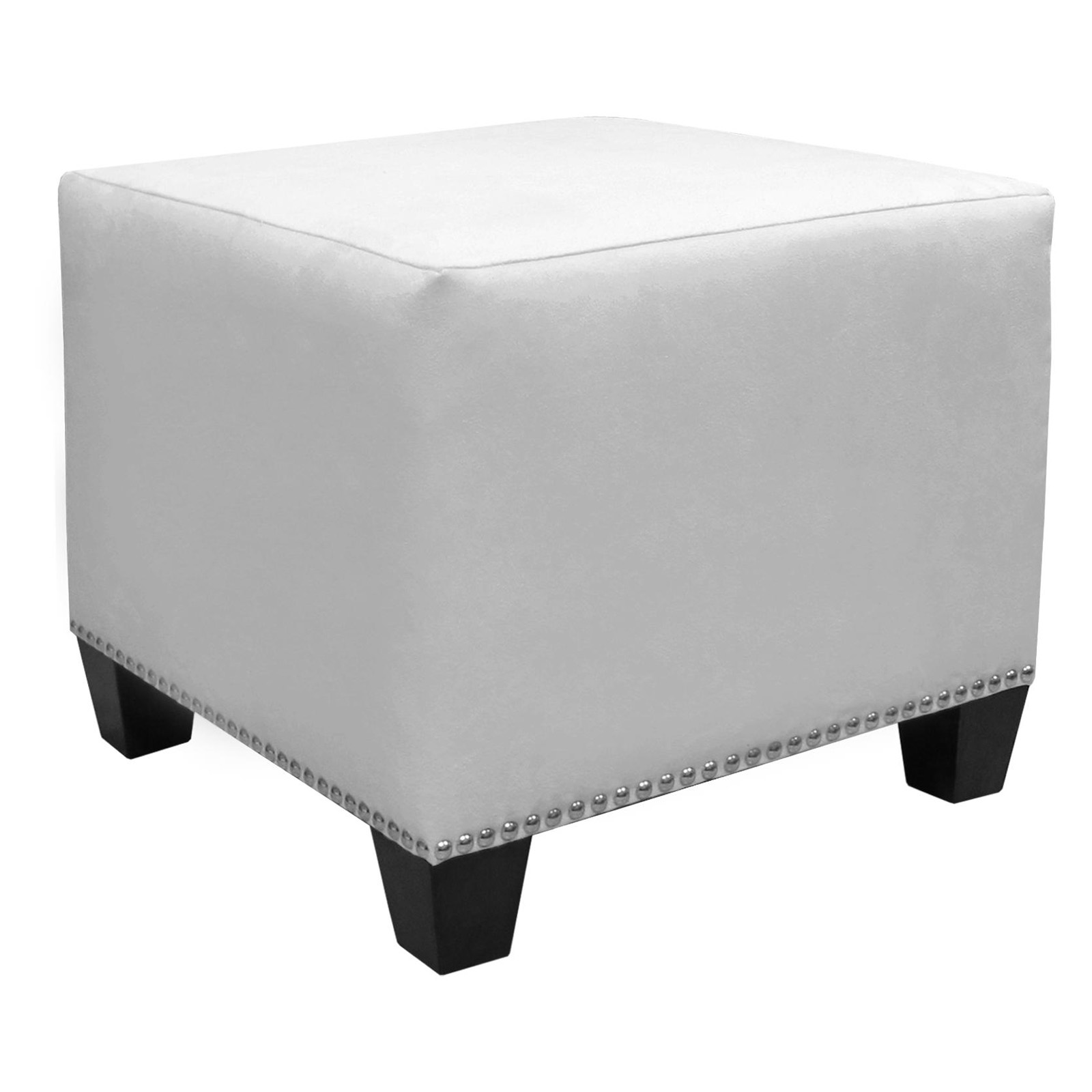 Skyline Nail Button Ottoman   Micro Suede