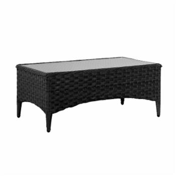 CorLiving Charcoal Grey Wide Rattan Wicker Patio Coffee Table