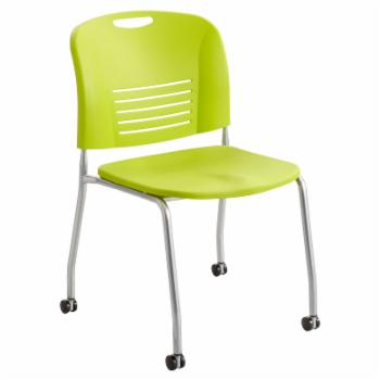Safco Vy Straight Leg Stack Chair with Casters - Set of 2