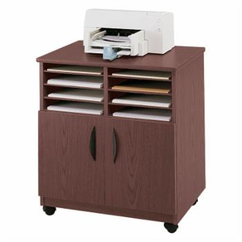 Safco Mobile Machine Stand with Sorter - Mahogany