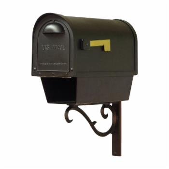 Special Lite Products Classic Curbside Mailbox with Newspaper Tube and Sorrento Mailbox Mounting Bracket