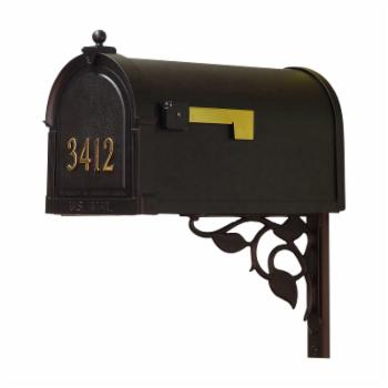 Special Lite Products Berkshire Curbside Mailbox with Front Address Numbers and Floral Mailbox Mounting Bracket