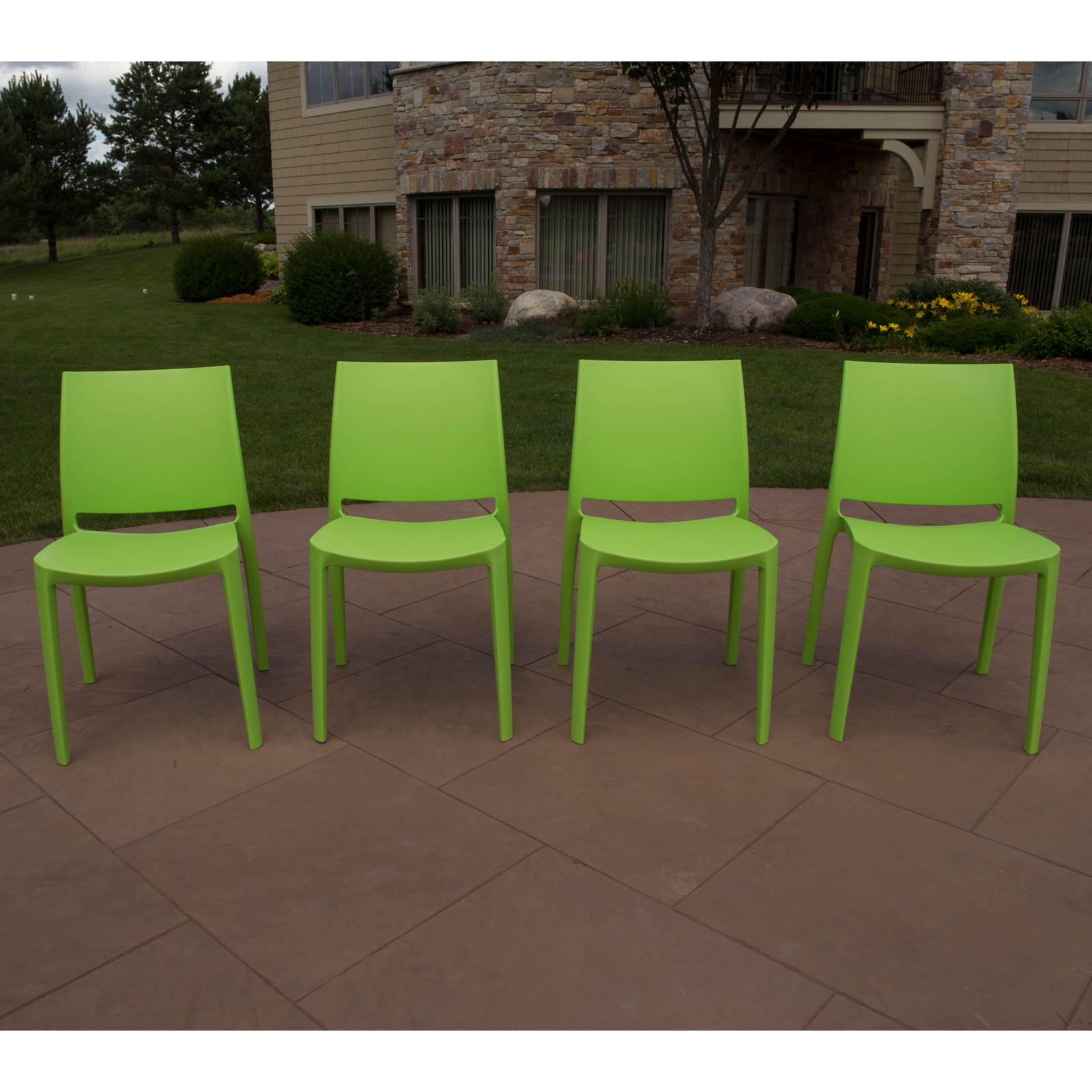Strata Furniture Sensilla All Season Resin Patio Dining Chair   Set Of 4