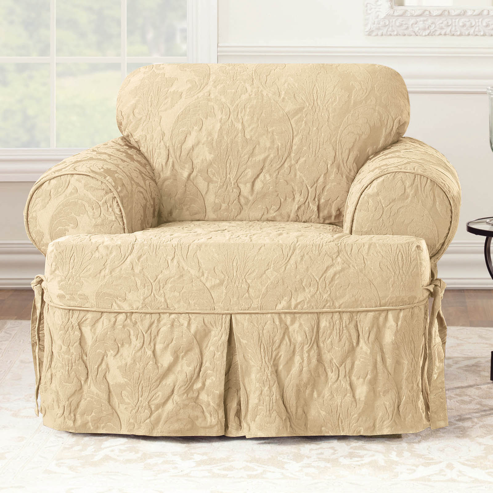 Sure Fit Matelasse Damask 1 Piece T Cushion Kick Pleat Chair Slipcover