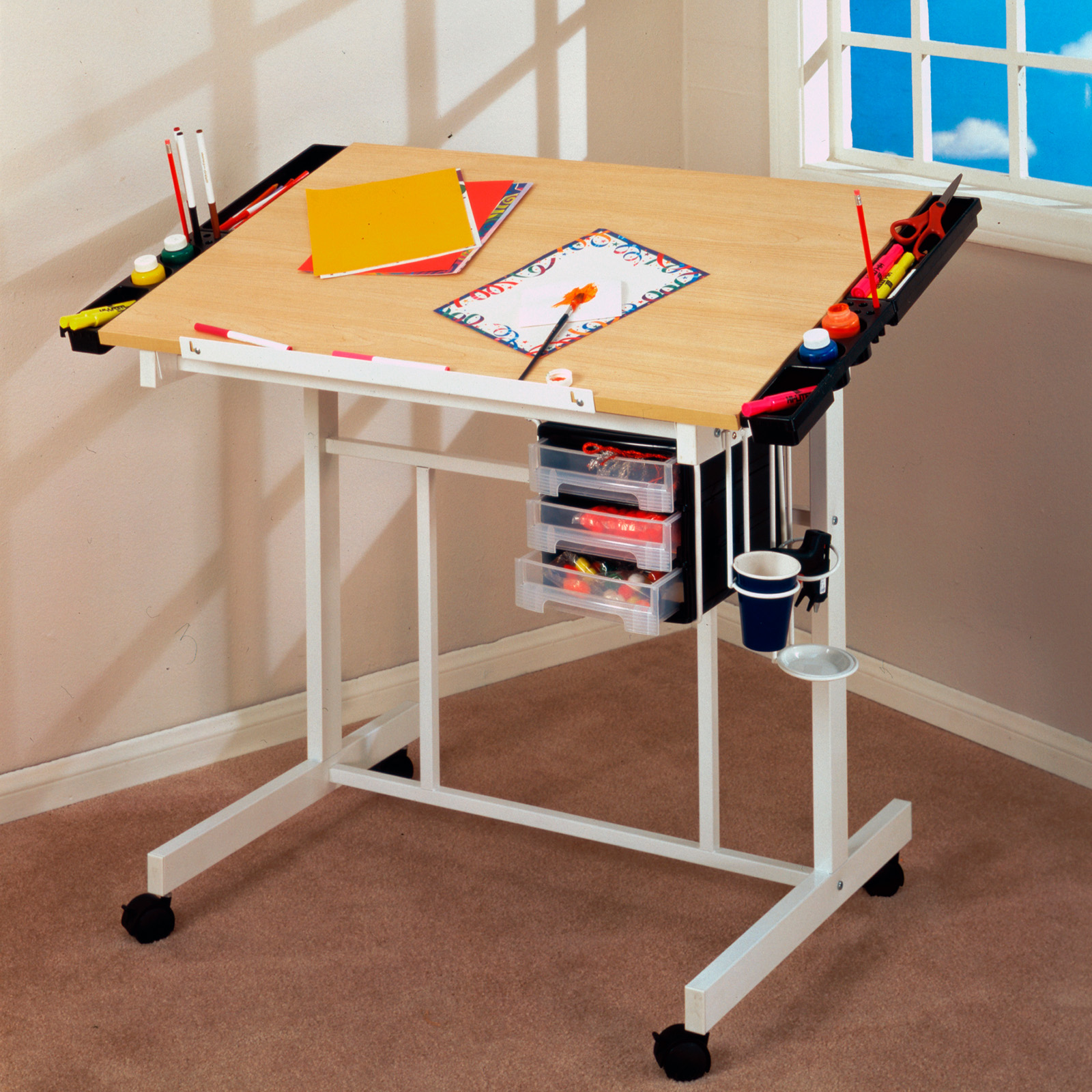 Studio Designs Futura Advanced Drafting Table With Side Shelf | Hayneedle