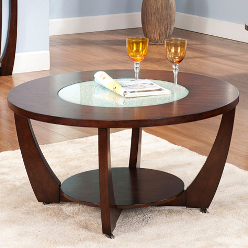 Steve Silver Rafael Round Cherry Wood and Glass Coffee Table   Coffee Tables  at Hayneedle. Steve Silver Rafael Round Cherry Wood and Glass Coffee Table