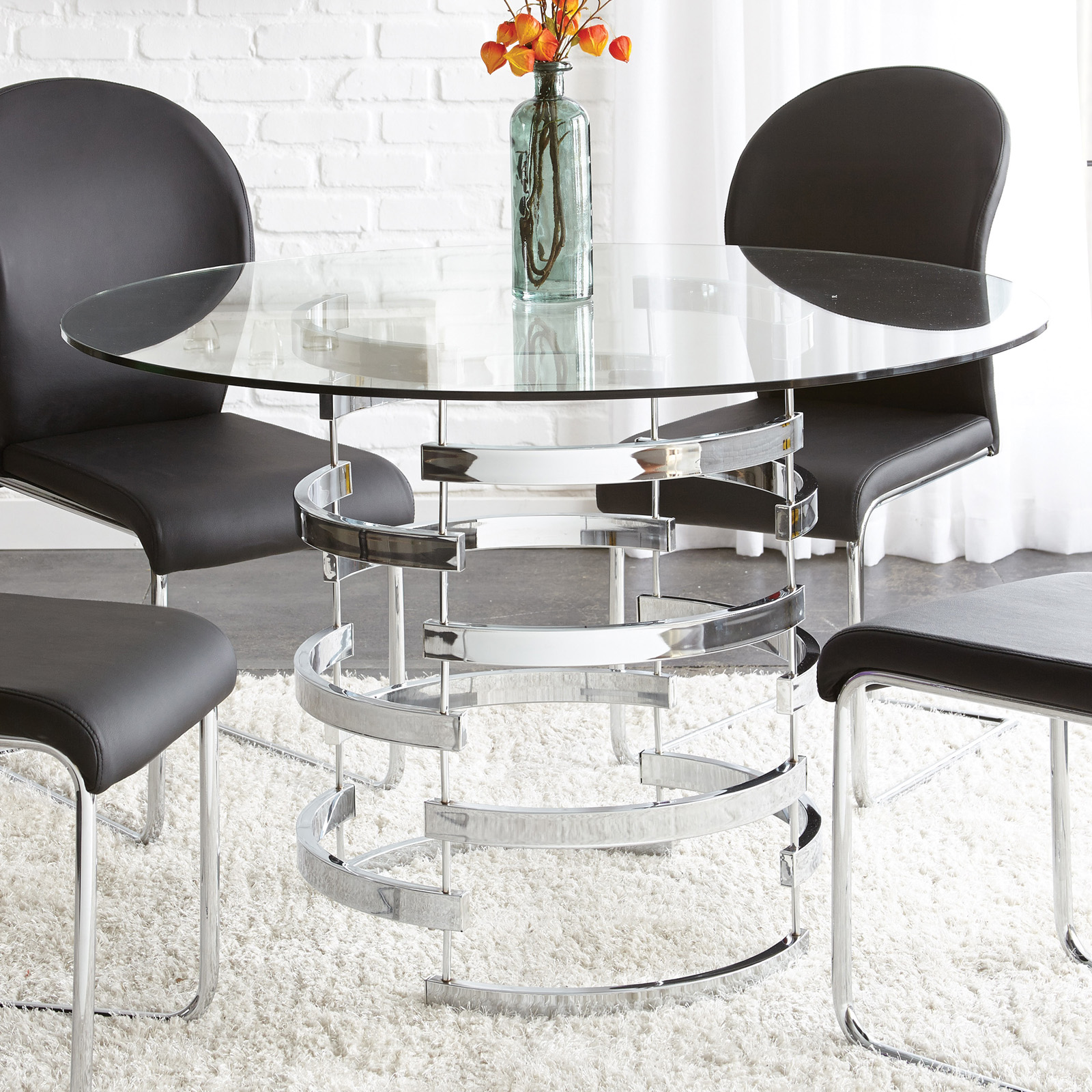 Steve Silver Tayside Tempered Glass Top Dining Table