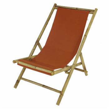 Statra Folding Bamboo Canvas Relax Sling Chair
