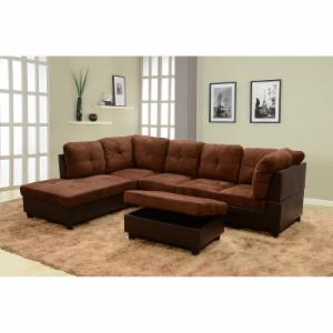 faux leather sectional. Beverly Fine Furniture 3-Piece Chocolate Microfiber \u0026 Faux Leather Sectional Sofa