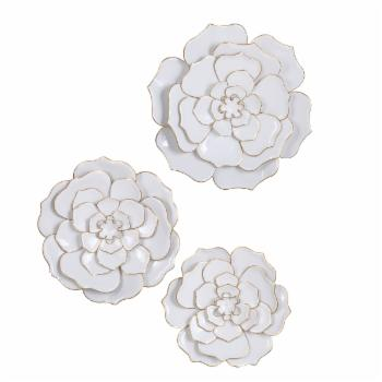 StyleCraft Floral Metal Wall Accent - Set of 3