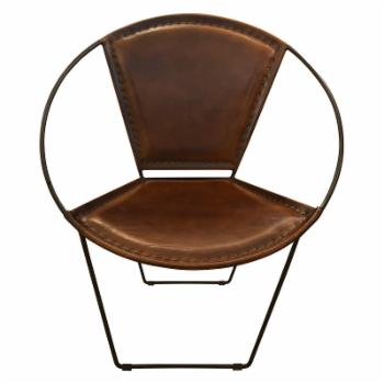 StyleCraft Hoop Leather and Metal Lounge Chair