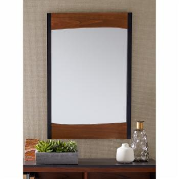 Belham Living Wood and Black Metal Wall Mirror