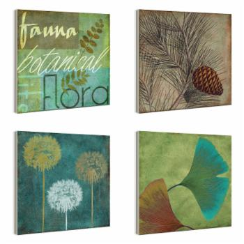 Fauna And Flora Botanical Plaque Wall Plaques - Set of 4
