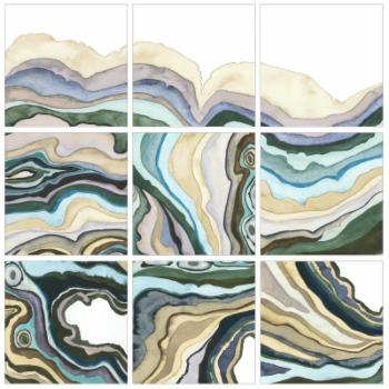 The Stupell Home Decor Collection Geode Abstract Waves by Grace Popp 9 Piece Canvas Wall Art Set