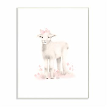 The Stupell Home Decor Collection Sweet Baby Lamb with Pink Bow Wall Art