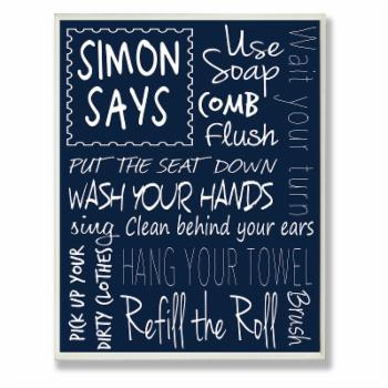 The Stupell Home Decor Collection Simon Says Bath Rules Chalkboard Bathroom Oversized Wall Plaque Art
