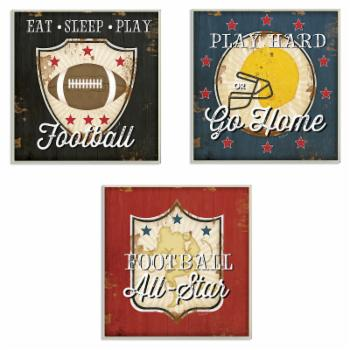 The Stupell Home Decor Collection The Kids Room by Stupell Football All-Star 3 Piece Wall Plaque Art Set