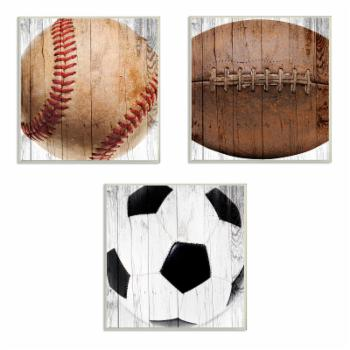 The Stupell Home Decor Collection Baseball Football Soccer 3 Piece Wall Art Panel Set