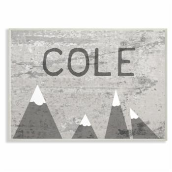 The Stupell Home Decor Collection The Kids Room Distressed Mountains Personalized Wall Plaque