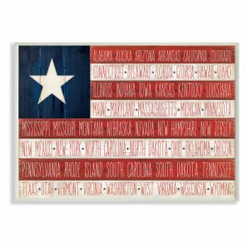 The Stupell Home Decor Collection American Flag with States Wall Plaque Art